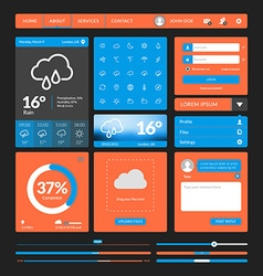 Set of flat design UI elements for website and vector