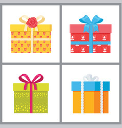 set of gift boxes in decorative wrapping vector image
