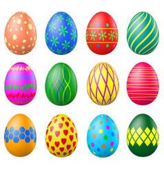 set of painted easter eggs with patterns vector image