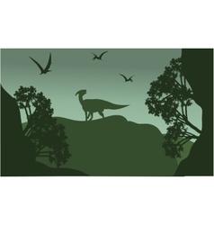 Silhouatte of parasaurolophus and pterodactyl vector