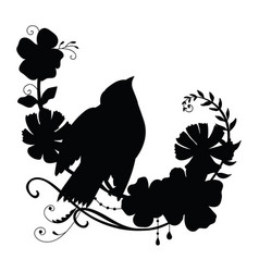 silhouette funny bird and flower composition vector image