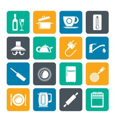Silhouette kitchen objects and accessories icons vector