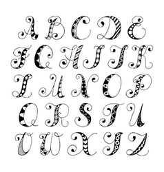 Sketch alphabet font vector image