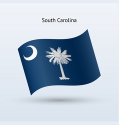 State of south carolina flag waving form vector