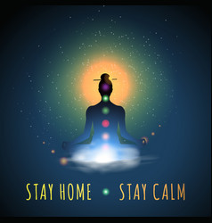 Stay home stay calm meditation silhouette vector