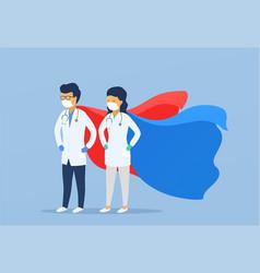 Superhero doctor and nurse in medical masks vector