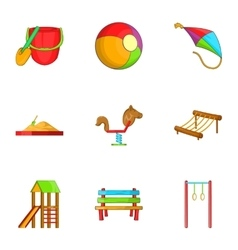 Swings for kid icons set cartoon style vector