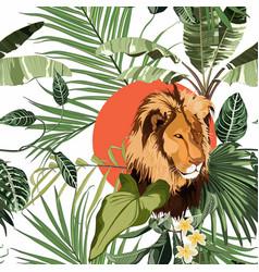Tropical tree palm tree plant lion animal flora vector
