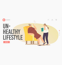 Unhealthy lifestyle landing page template girl vector