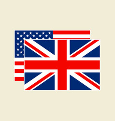us and uk flag set vector image