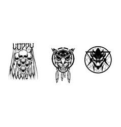 Voodoo mask halloween element vector