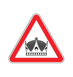warning king royal crown of red triangle road vector image