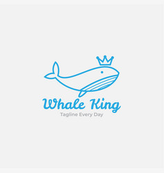 Whale with crown logo design vector