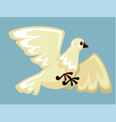 White dove flying with spread wings domestic farm vector