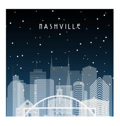 winter night in nashville night city vector image