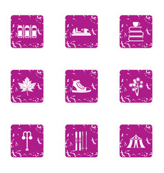 winter parking icons set grunge style vector image