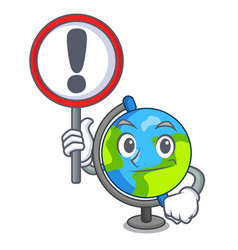 with sign globe character cartoon style vector image