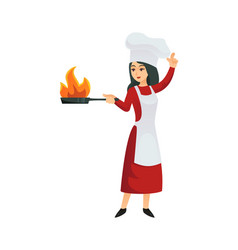 woman chef doing flambe vector image