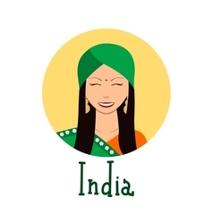 Young woman face avatar Cute indian girl in vector