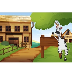 Zebra in the western old town vector