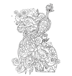 Zen art stylized peacock Hand drawn doodle vector