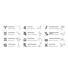 Zodiac signs astrology and horoscope symbols with vector