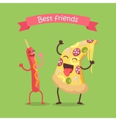 Best Friends Sausage on Stick and Pizza Dancing vector image vector image