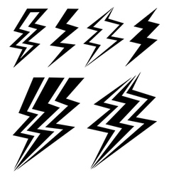 black symbols of electrical discharge vector image vector image