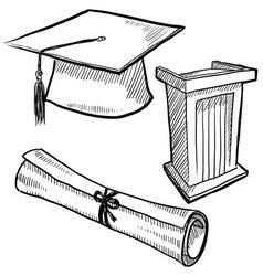 Doodle graduation cap diploma scroll vector