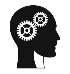 gears in human head icon simple style vector image