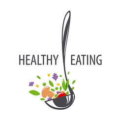logo ladle and vegetables for a healthy diet vector image vector image