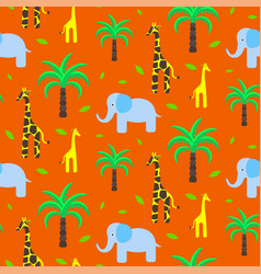 savannah animals child cute seamless pattern vector image