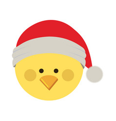 Silhouette of chicken head with christmas hat vector