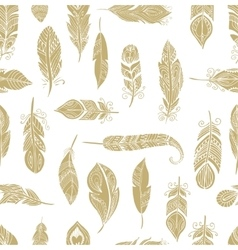 Bohemian style feathers seamless pattern vector image vector image
