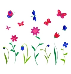 Colorful flowers butterflies and dragonflies vector image