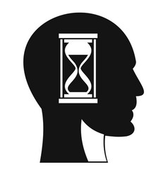 hourglass in head icon simple style vector image
