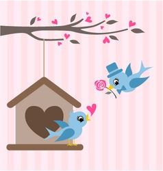 love birds valentine greeting design vector image vector image