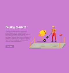 pouring concrete web banner modern building vector image vector image