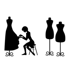 Silhouettes designer and mannequins on white vector