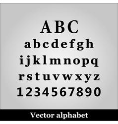 Black alphabet on grey background vector image