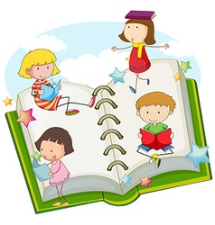 Children reading books together vector image