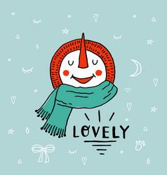 christmas snowman enjoying snow funny cartoon vector image vector image