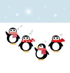 cute christmas singing penguins vector image