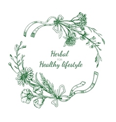 Herbal sketch round frame vector