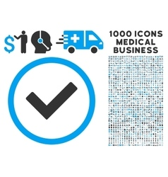 Ok Icon with 1000 Medical Business Pictograms vector image vector image