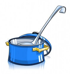 pan with lid and ladle vector image vector image