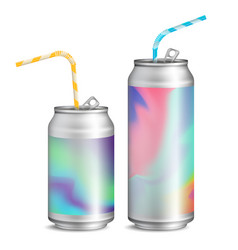 realistic metallic cans soft drink 3d vector image vector image