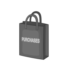 Shopping bag icon black monochrome style vector image vector image