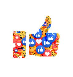 thumb up symbol made with emoji vector image