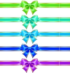 Bows with edging and ribbons in cool colors vector image vector image
